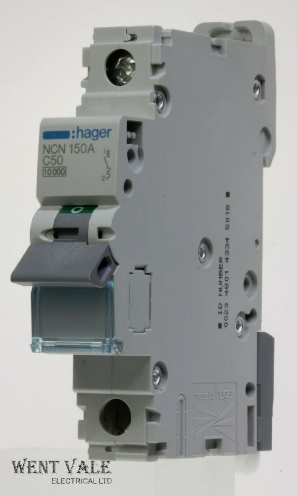 Hager NCN150 - 50a Type C Single Pole MCB Used